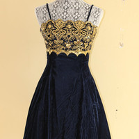 80's Gunne Sax Prom Dress by Jessica Mclintock  royal blue and gold