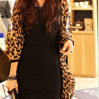 Leopard Print Batwing Sleeves Chiffon Loose Top