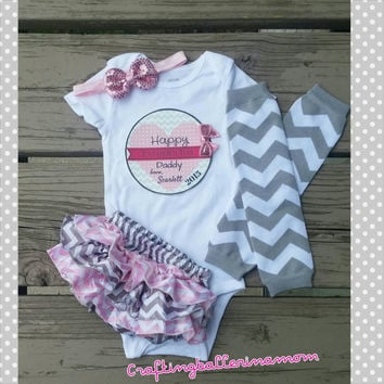 Pink Gray Chevron Father's Day Baby Girl Outfit - Personalized Onesuit - Bloomers - Headband - Photo Prop - Infant Onesuit -First Father's da