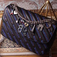 BALENCIAGA 2018 HOT STYLE LEATHER INCLINED CHAIN SHOULDER BAG