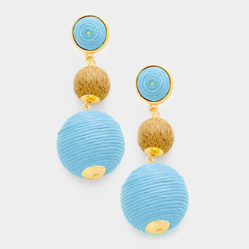 Light Blue Bon Bon Style Earrings, Silk Thread and Wood Ball Earrings, Triple Ball Drop Earrings, Drop Earrings, Thread Wrapped Earrings