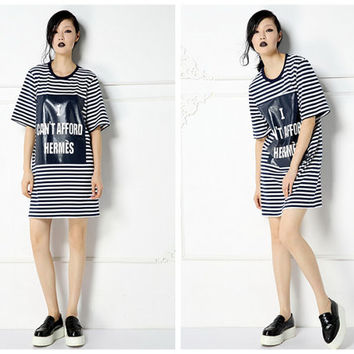 women stripe dress,letter print,casual,loose fit,oversize,short sleeve,short length,round neck,preppy,nautical style,made of cotton.--E0138