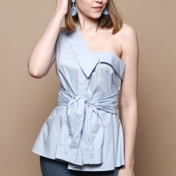 Astr The Label Sammie One Shoulder Top - French Blue