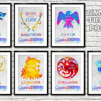 Game Of Thrones Houses poster set. Winter is coming posters. Watercolor posters. Handmade posters.