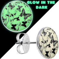 Glow in the Dark Flight of the Butterflies Stud Earrings | Body Candy Body Jewelry