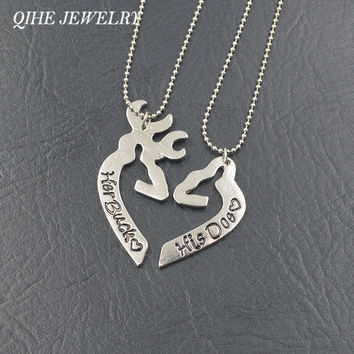 QIHE JEWELRY His Doe Her Buck Love Heart Shape Broken Half Buck & Doe Couple Necklace Valentine's Day Creative Lovers Gifts
