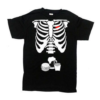 Expecting Dad T Shirt Halloween Costume Mens Skeleton Shirt Ribcage TShirt Halloween Party T-Shirt Pregnancy Gift For Dad Mens Tee - SA844