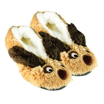 Shea Butter Fuzzy Animal Slippers W Non-Skid Bottoms Dog