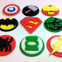 Superhero Pick Your Pieces Edible Fondant by ThreeMonkeysCakery