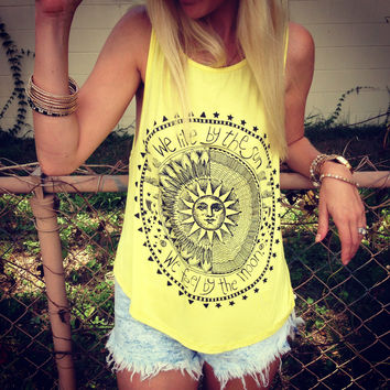 Vintage Sun Print Sleeveless Blouse