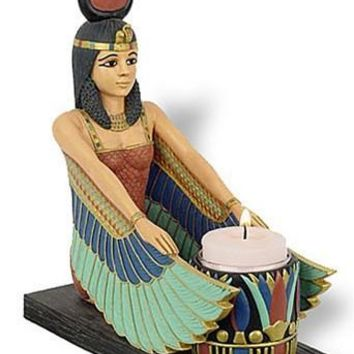 Egyptian Isis Tealight Candleholder with Wings Fanning Flame 7.5H