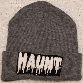 Gray Beanie with Hand-Sewn HAUNT Patch