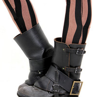 Vintage WWII black leather steampunk military gaiters spats.