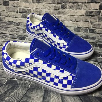 PEAPON Vans Authentic Anaheim Old Skool Blue And White Squares Low Tops Flats Shoes Canvas Sneakers Sport Shoes