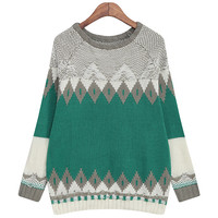 Color Blocking Geometric Shape Knitted Sweater Pullover