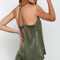 Fortune Stellar Olive Green Satin Tank Top