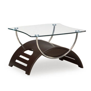 Global Furniture USA 63WE Meryl Rectangular Clear Glass End Table in Wenge w/ Chrome Legs