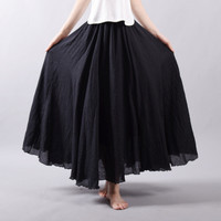 Fashion Brand Women Linen Cotton Long Skirts