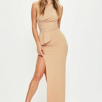 Missguided - Nude One Shoulder Peplum Maxi Dress