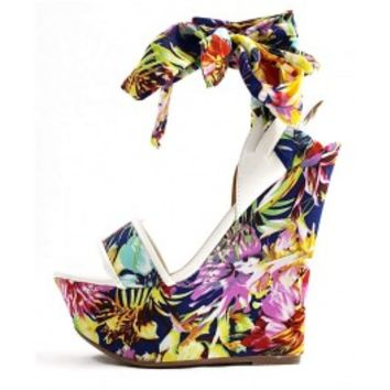 Dollhouse White floral Playful Open Toe Platform Wedge wowtrendz