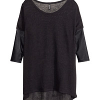 H&M - Fine-knit Sweater - Black/leather imitation - Ladies