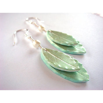 Sage Green Leaf Earrings  Sage and Mint Polymer Clay by JustClayin