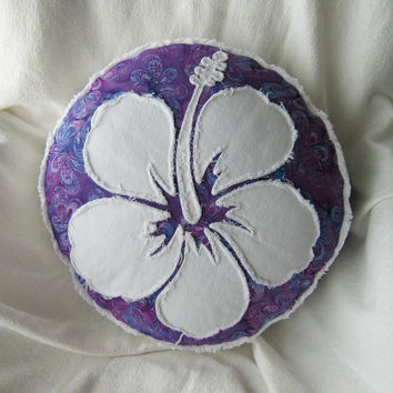 Hibiscus flower pillow purple batik and distressed bright white denim round pillow