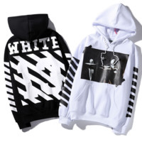 Off white oblique striped hooded plus velvet men and women sets of head sweater students autumn and winter sweater White