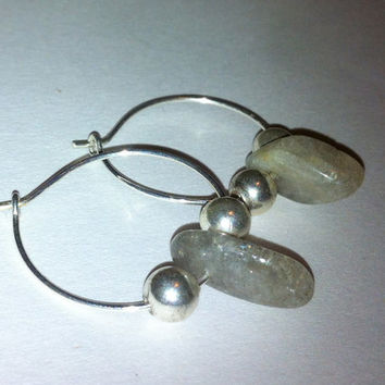 Labradorite Stone and Sterling Silver Hoop Earrings; Natural Rock Earrings; Little Silver Hoops; Tribal Style