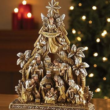 Avalon Gallery Nativity Tree and Stable Figurine
