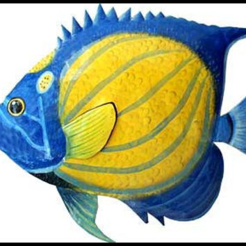 Tropical Fish Metal Wall Art - Metal Wall Hanging - Blue Ringed Angelfish - Hand Painted Metal Art, Tropical Decor - Poolside Decor - 133