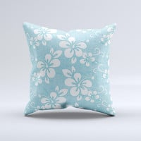 Vintage Hawaiian Floral Ink-Fuzed Decorative Throw Pillow