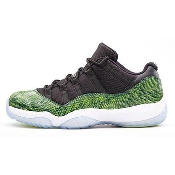 PEAPO2N Air Jordan Retro 11 ' Green Night shade Snake Skin'