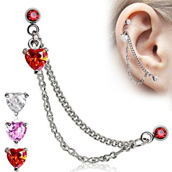Heart 316L Surgical Steel Double Chained Cartilage Earring