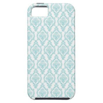 Damask vintage blue chic girly retro lace pattern iphone 5 case from Zazzle.com