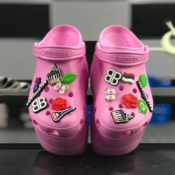 Balenciaga Crocs Purple Foam Platform Sandals Charms Embellished Resin Wedge Clogs - Best Online Sale