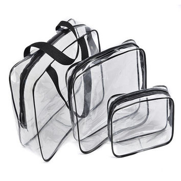3pc  Travel Essential Transparent Waterproof Toiletry Storage Bag Makeup Cosmetic Bags PVC Pouch