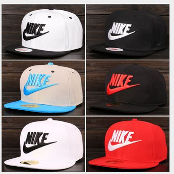 """Nike"" Fashion Casual Male Female Hip Hop Embroidery Cotton Baseball Cap Movement Flat Edge Hat"