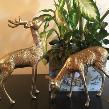 Vintage Large Brass Deer Set, Stag and Doe, Deer Figures