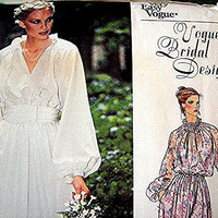 Vogue Vintage Wedding Dress Pattern Misses size 16 UNCUT  Bridemaid Dress, Peasant Dress