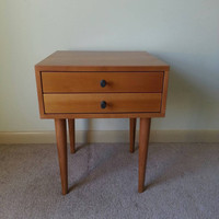 Mid Century Inspired Two Drawer Nightstand / Bedside Table