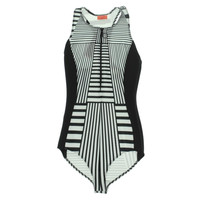 Clover Canyon Womens Striped Racerback One-Piece Swimsuit