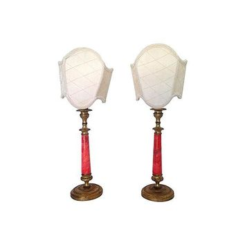 Pre-owned French Alabaster Candlestick Lamps = Pair