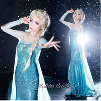 Disney Frozen Elsa the Snow Queen Top Grade Cosplay Costume Party Dress