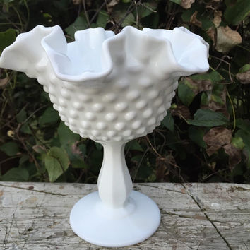 Vintage Fenton white milk glass bowl, hobnail double crimped white milk glass bowl w/ pedestal, vintage Fenton glass, wedding serving dish