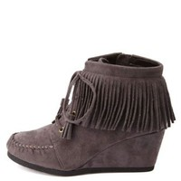 City Classified Fringe Moccasin Wedge Booties - Charcoal
