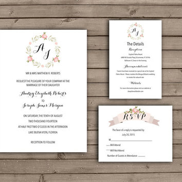 Rose Wreath Printable Wedding Invitation or Wedding Suite