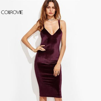 COLROVIE Elegant Velvet Pencil Party Dress 2017 Burgundy Double Strap Women Autumn Dresses Sexy Zip Cross Back Midi Club Dress