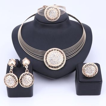 African Dubai Fashion Multi layer Chain Necklaces Jewelry Set For Wedding Bridal Elegant Crystal Women Costume Accessories