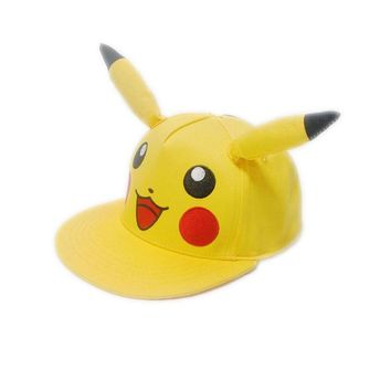 Anime  Pikachu Cosplay Ponytail Baseball Caps Adults and Kid with Children Hip Hop Corner Hat Cute Bone Snapback CapKawaii Pokemon go  AT_89_9